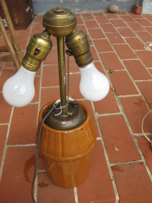 ANTIQUE PEORIA POTTERY DUAL LAMP ELECTRIC JAR CROCK ART DECO T. DAL