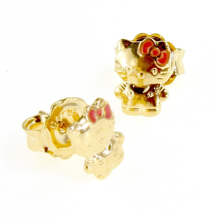 Gold 18k GF Earrings Little Kitten Hello Kitty Infants Toddler Kids