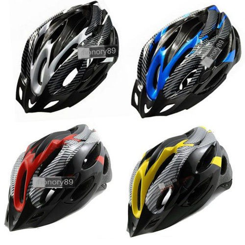 Cycling Bicycle Adult Mens Bike Helmet red carbon colour With Visor