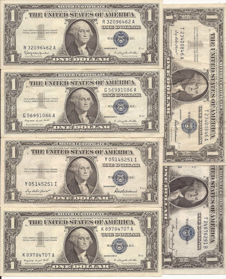 1957 Silver Certificate 1 Dollar Bill Nice Us Collectible Currency 5