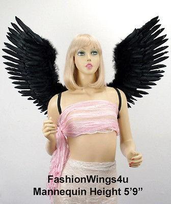 Large V shape Open Swing Black Costume Feather Angel Wings demon raven