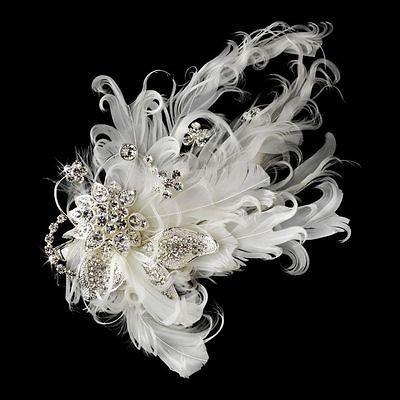 Cz FEATHER FASCINATOR Wedding Bridal Hair Comb clip pin 458s