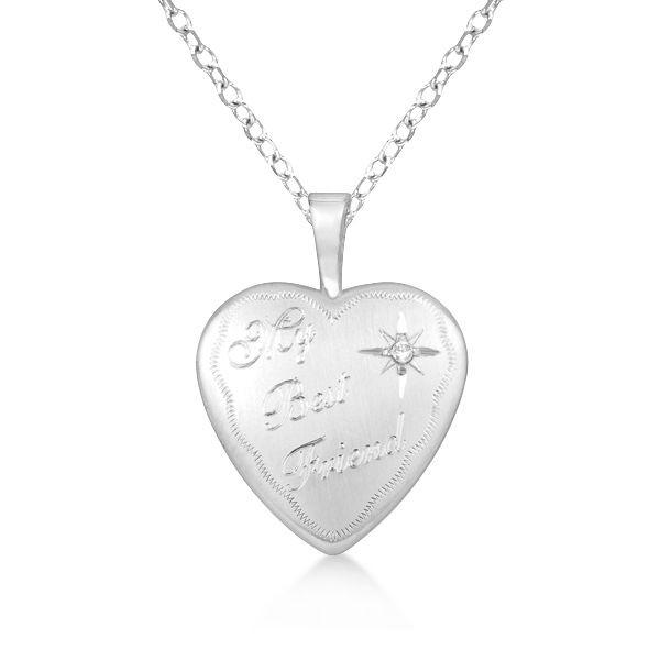 Silver My Best Friend Heart Shaped Diamond Locket Necklace