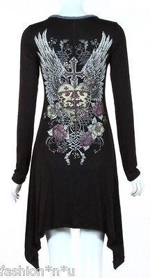 CRYSTAL HEART CROSS ANGEL WINGS TATTOO BLACK TUNIC DRESS & ED HARDY