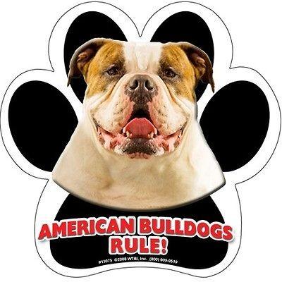 Bulldogs Rule Dog Paw Print Rubber Car or Fridge LOCKER MAGNET USA