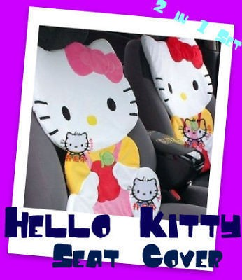 Hello Kitty Apple Design Seat Cover 1 PAIR Set Multi Use for Home/Car