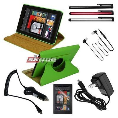 8in1 Accessory for  Kindle Fire Leather Case Green+Car Wall