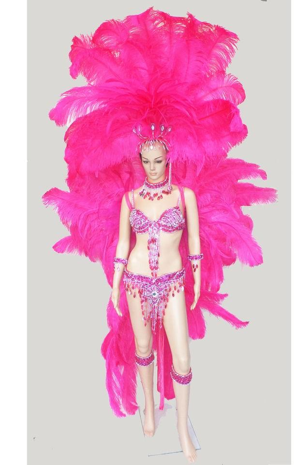 C046 Samba Parade Carnival Brazil Feather Headdress Costume Set XS XL