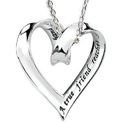 Best Friend Sliding Ribbon Heart Charm Silver 925 Friendship Necklace