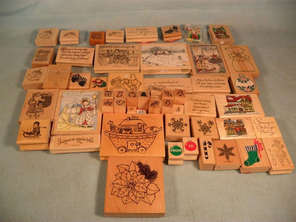 Huge Lot of Christmas Theme Rubber Stamps 40 Plus Stamps