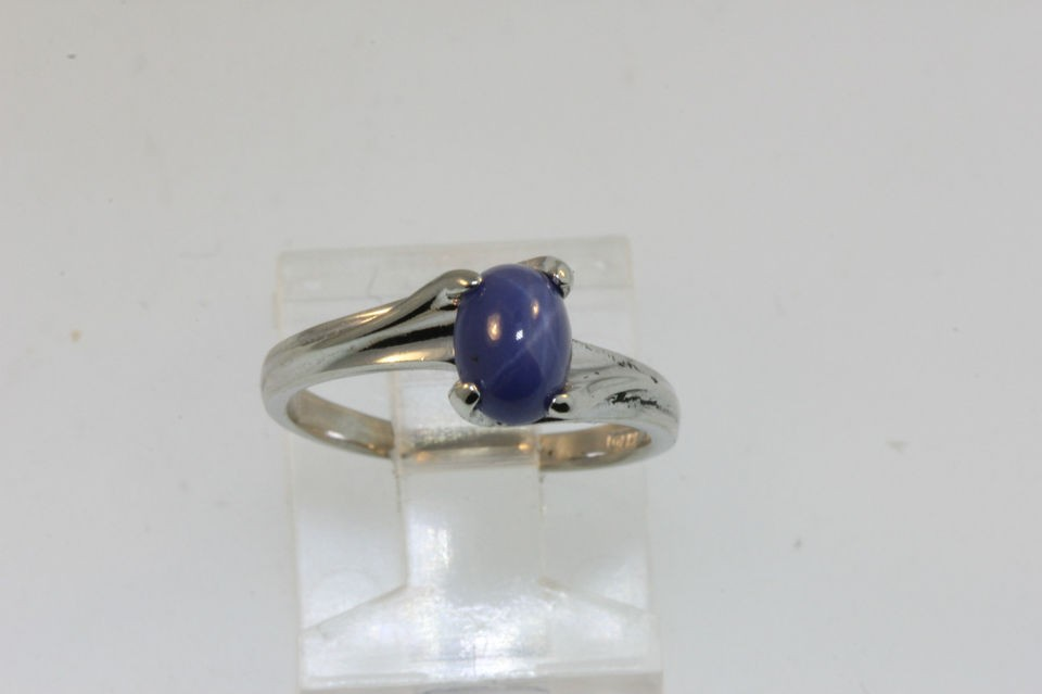 VTG LADYS 10k WHITE GOLD BLUE STAR SAPPHIRE CAB SOLITAIRE RING SZ 5