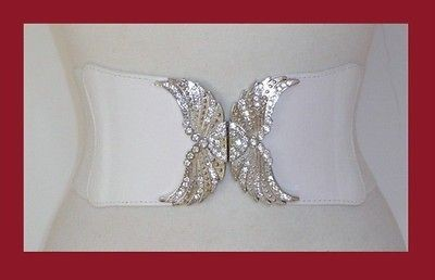 WHITE CRYSTAL BUCKLE ANGEL WINGS WIDE CINCH GOTH BELT