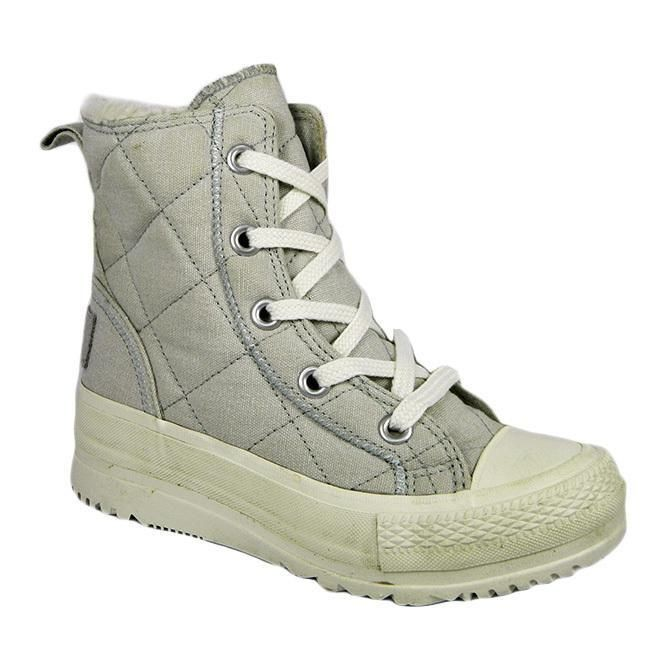Converse 532324 Alice Mid Womens Quilted Textile Lace Up Boots Grey