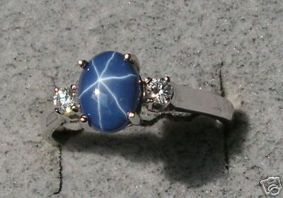 CRNFLR BLUE STAR SAPPHIRE CREATED RHOD .925 SILVER RING COLOR CHOICE