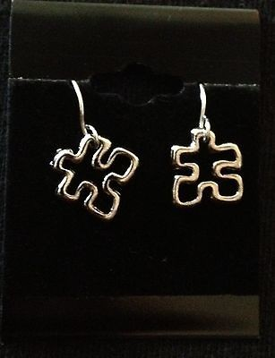 Tone Autism Awareness Floating Puzzle Piece earrings NEW