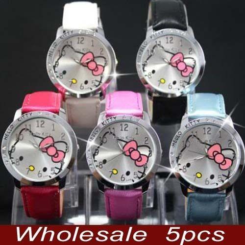 Wholesale 5pcs Hello Kitty Crystal Wrist Watch Clock Lot of gift LK13
