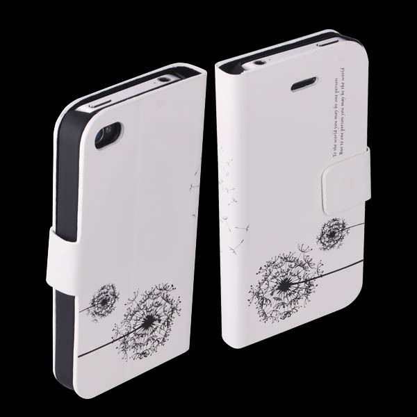 Dandelion Pattern PU Leather Flip Case Cover for Apple iPhone 4 4S