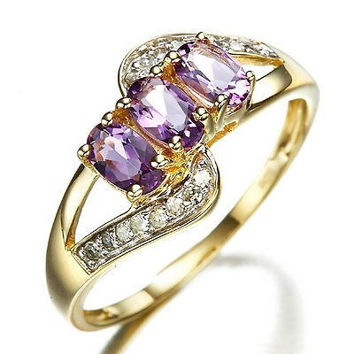 Size 6,7,8,9 Jewelry Ladys Purple Amethyst 10KT Yellow Gold Filled