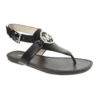 Michael Kors Black Leather Charm Gladiator Thong Sandals Shoes Flip