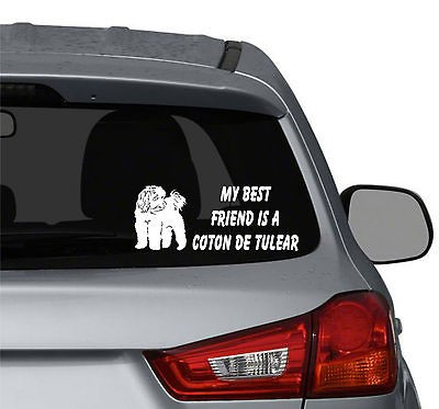 My best friend is a Coton de Tulear Dog vinyl car window decals