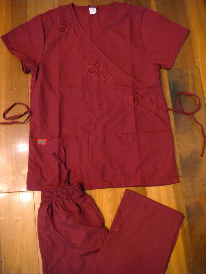 Top Cargo Pant Medical Uniform Nursing Scrubs Set Wine XS   2XL