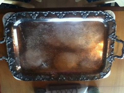 Antique F B Rogers Silver Co, TAUNTON, MASS. Silver On Copper Tray