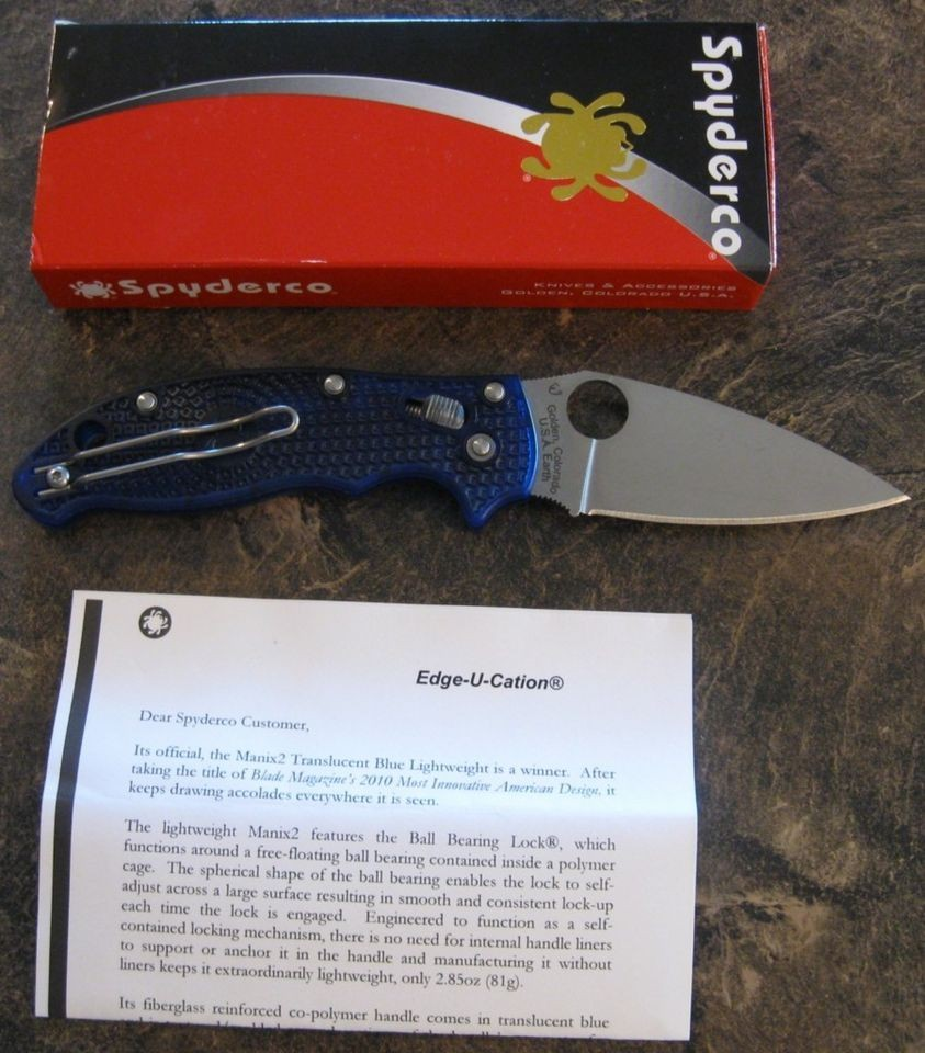 BRAND NEW Spyderco C101PBL2 Manix 2 Folding Knife BD 1 Steel