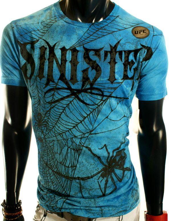 SKULLS CROSS WINGS UFC MMA SINISTER BLUE BLACK SKATE CLUB T SHIRT XL