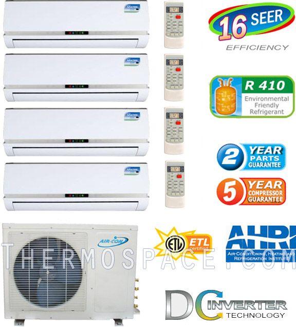 Quad Zone Mini Split, 36000 BTU AC Air Conditioner w/ Heat Pump