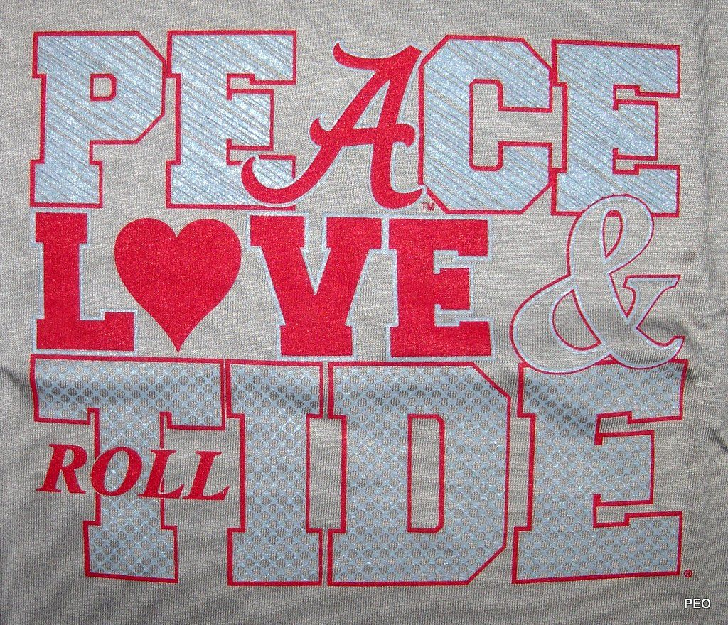 Alabama Crimson Peace Love Tide Gray Crimson T Shirt Roll Tee Shirt