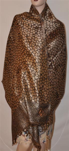 Sir Alistair Rai Brown Black Leopard Print Wrap Scarf