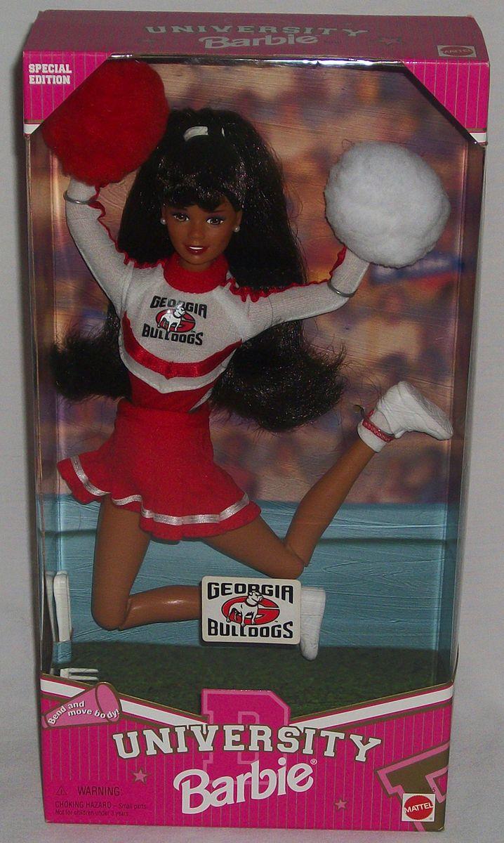 University Bulldogs Cheerleader Barbie Mattel Doll African American