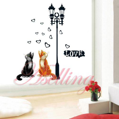 Love Two Cat Heart Lamp DIY Removable Art Vinyl Wall Sticker Decor