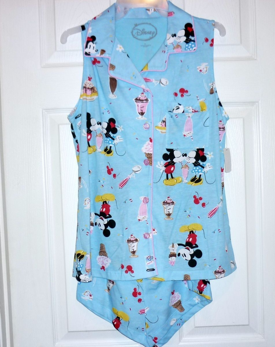 NEW DISNEY MICKEY MINNIE MOUSE SLEEPWEAR PAJAMAS WOMENS SZ M NWT