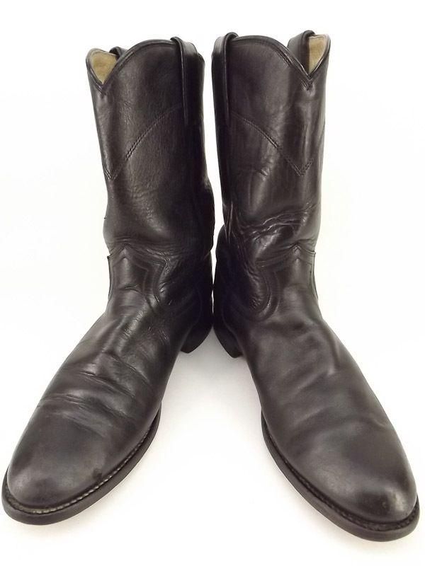 Cowboy Boots Black Leather Justin 7 5 B Western Roper Classic