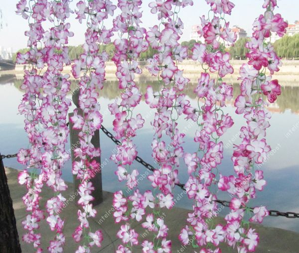 Purple Azalea Vine Artificial 60 Flowers Hanging Wedding Garland Arch
