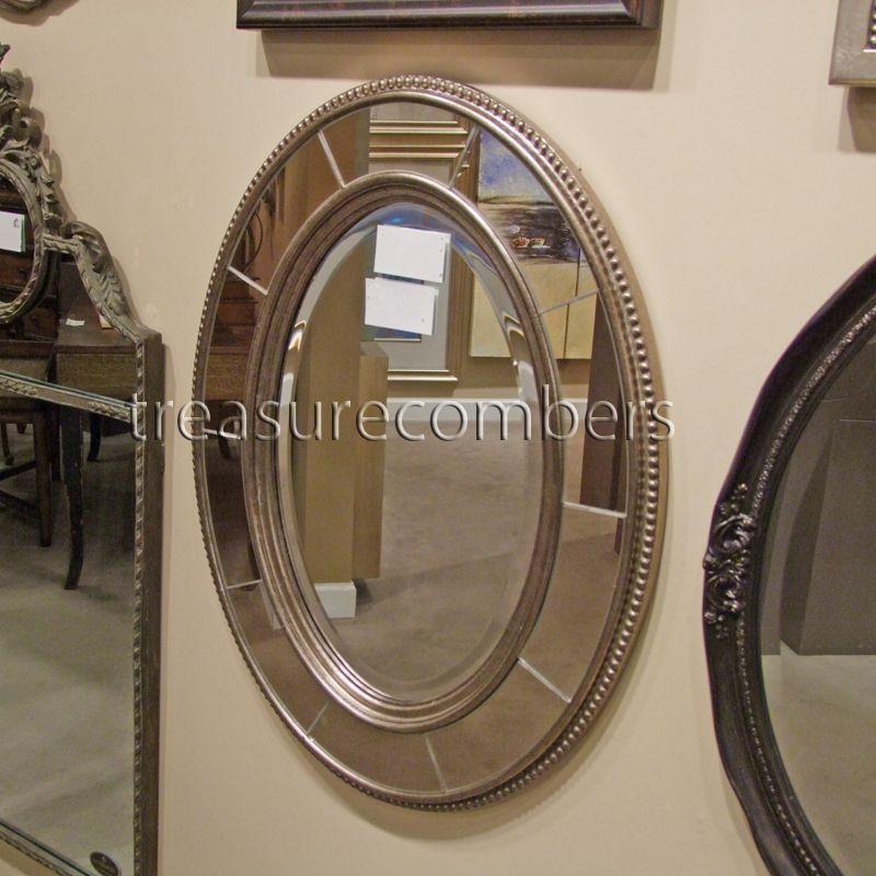 Ballard Designs LARA Silver Gold Oval Wall Mirror