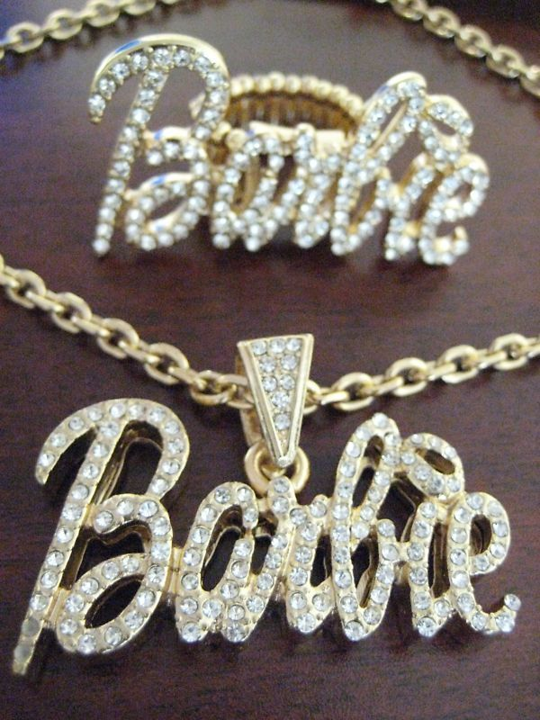 Nicki Minaj Barbie Pendant Necklace Ring Gold Clear