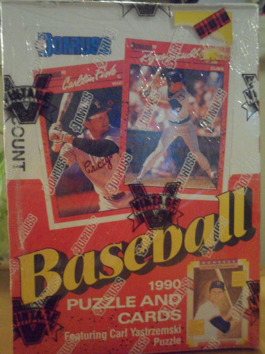 1990 DONRUSS BASEBALL PUZZLE AND CARDS WAX PACKS FACTORY SEAL BOX 36