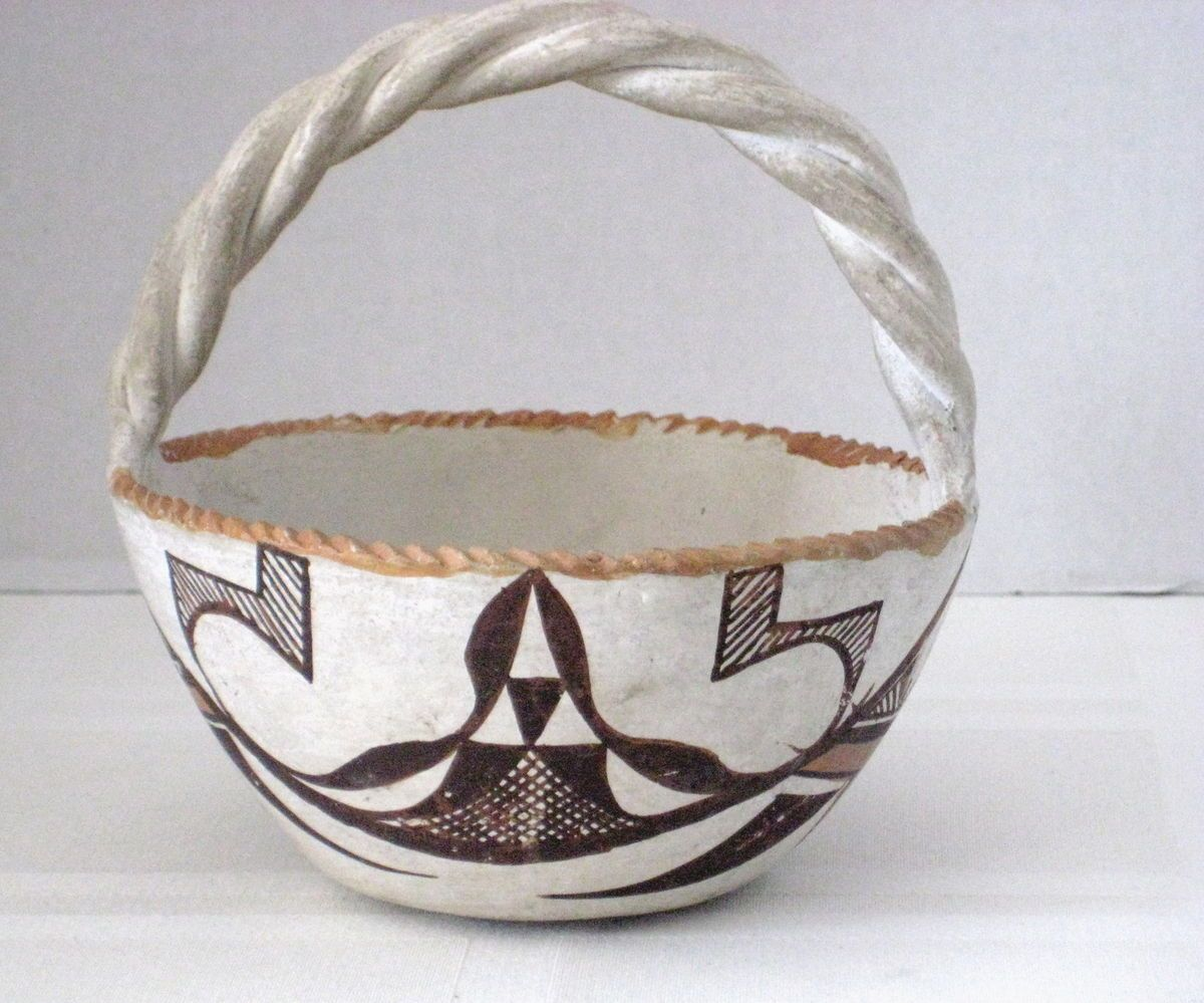 Old Acoma Pueblo Pottery Polychrome Basket Bowl Signed L M Lucario