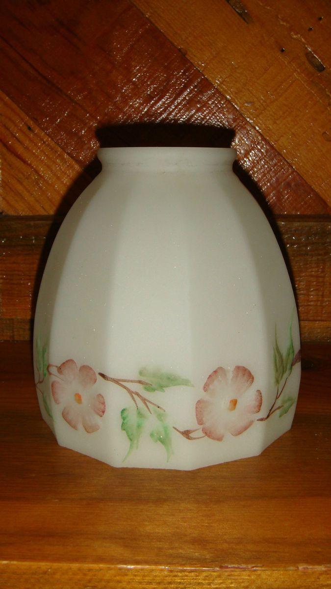 Antique Vintage Satin Milk Glass Light Lamp Shade Globe Hand Painted