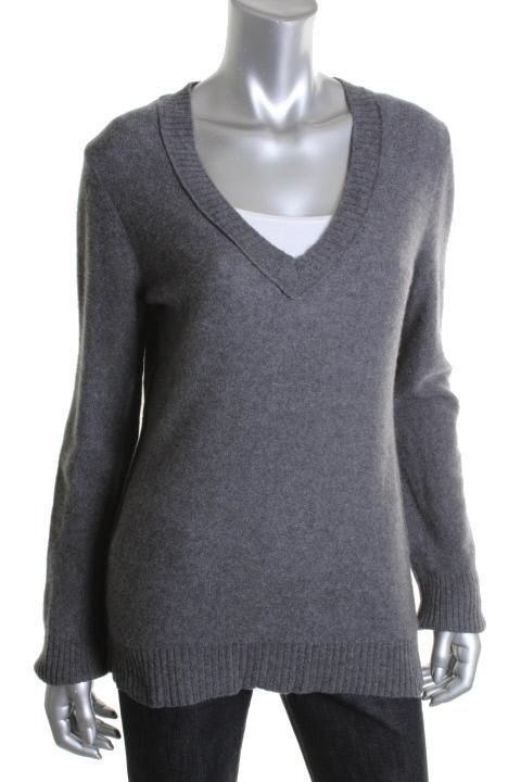 Aqua New Gray Cashmere V Neck Long Sleeve Pullover Sweater L BHFO