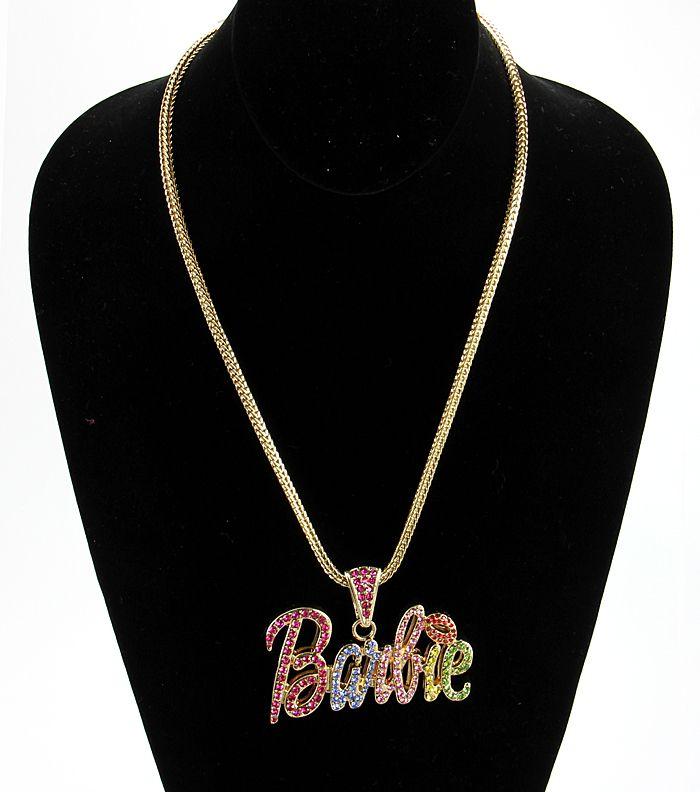 Nicki Minaj BARBIE Pendant Necklace Gold Iced Colored Rhinestones Pink