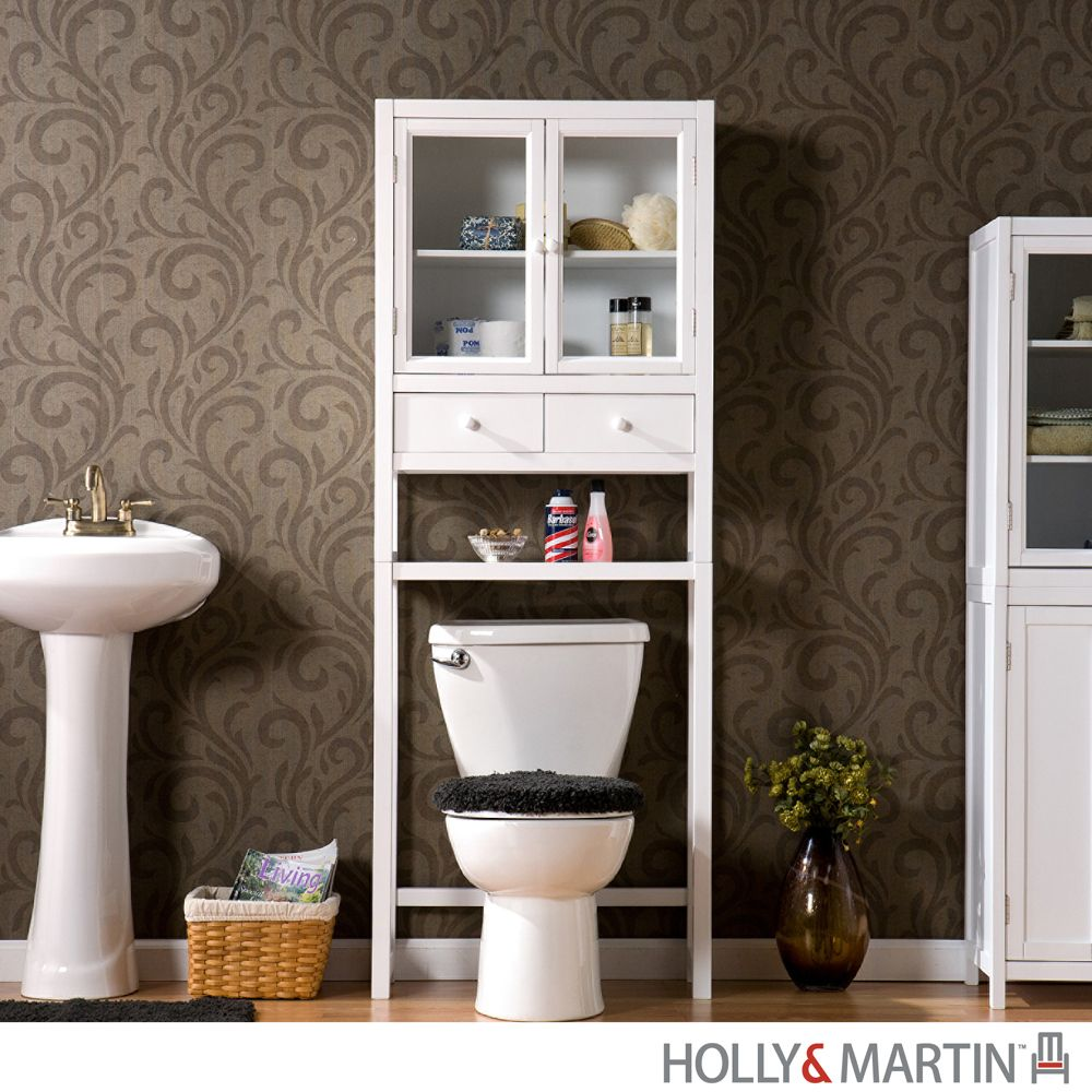 Audrey bath white spacesaver over toilet storage bathroom for Bathroom cabinets above toilet