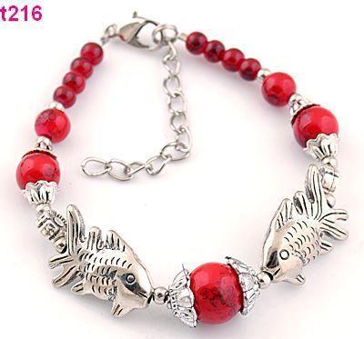 1pc Handmade Tibetan Silver Red Beaded Fish Charm Bracelet T216