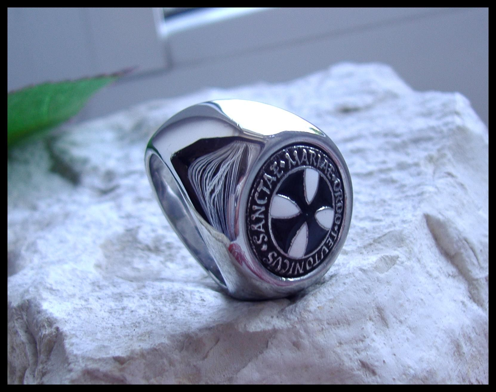 Original AJS © Teutonic Knights Ring Black Iron Cross Germany Silver