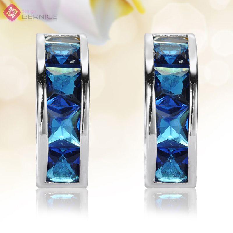 Blue Sapphire White Gold GP Hoop Round Earrings Jewelry