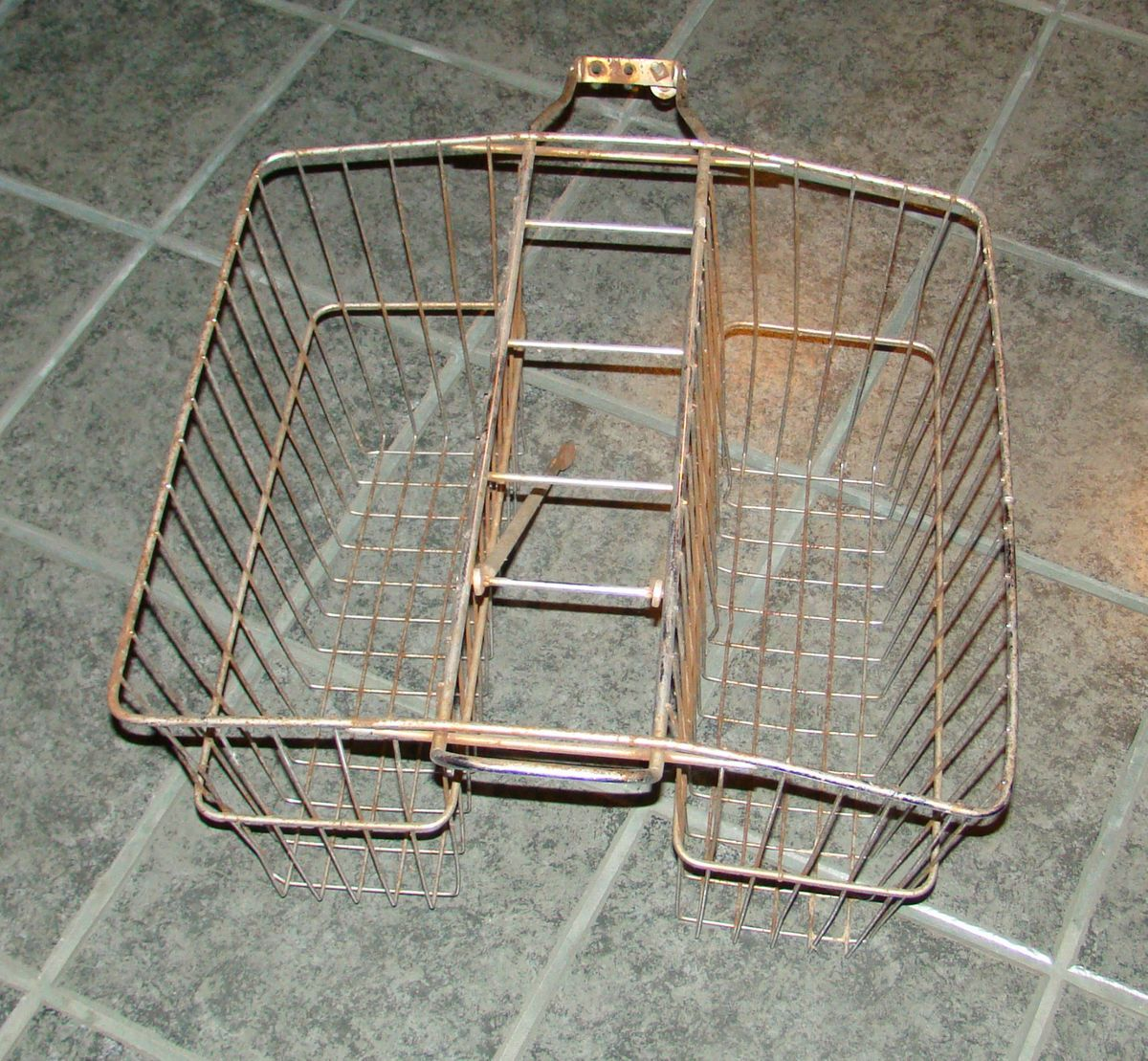 Vintage Bicycle Basket Double Rear Mount with Brackets