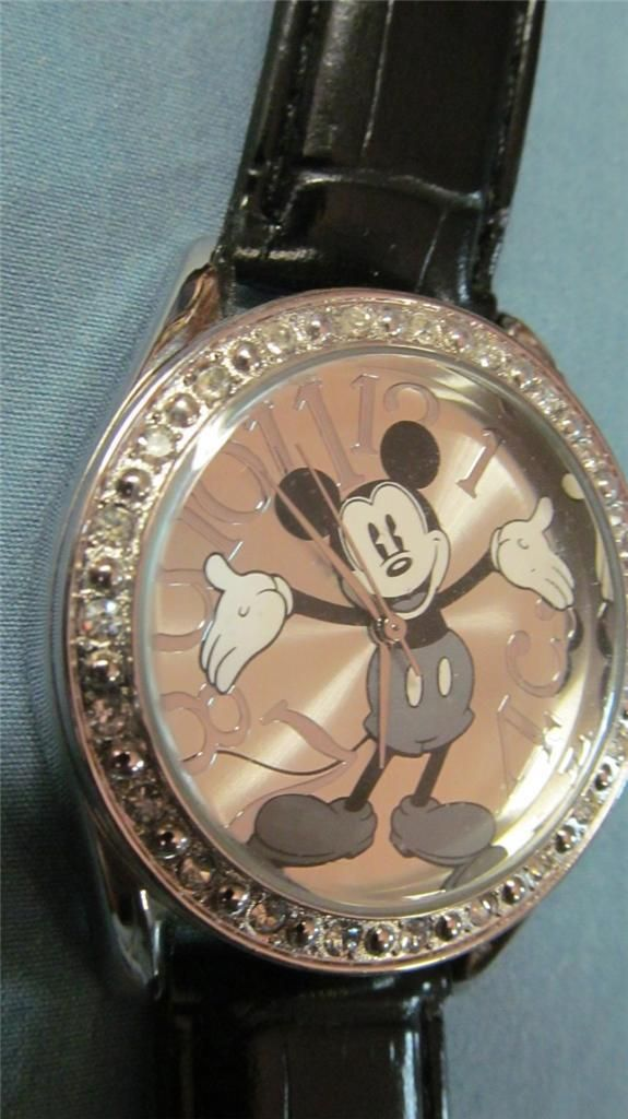 Mickey Mouse Watch w Black Band Nice Big Face Watch MenS