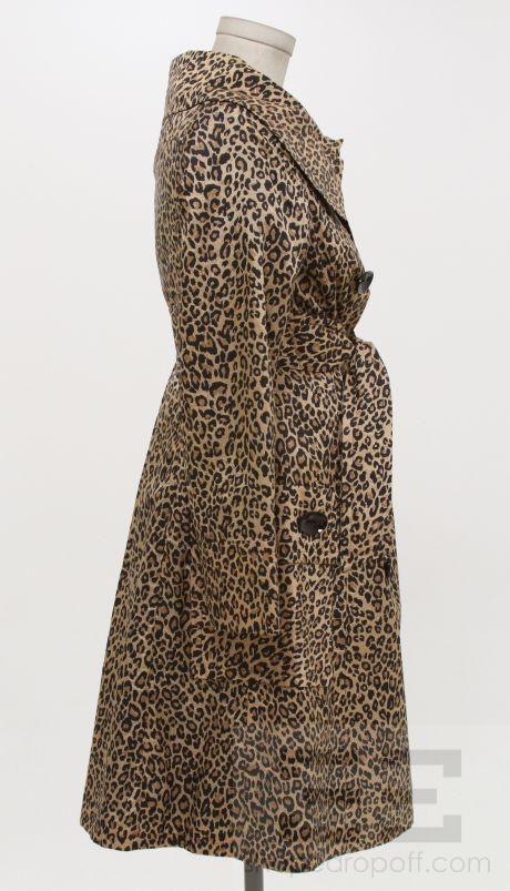 Sara Berman Tan & Black Leopard Print 3/4 Length Belted Trench Jacket